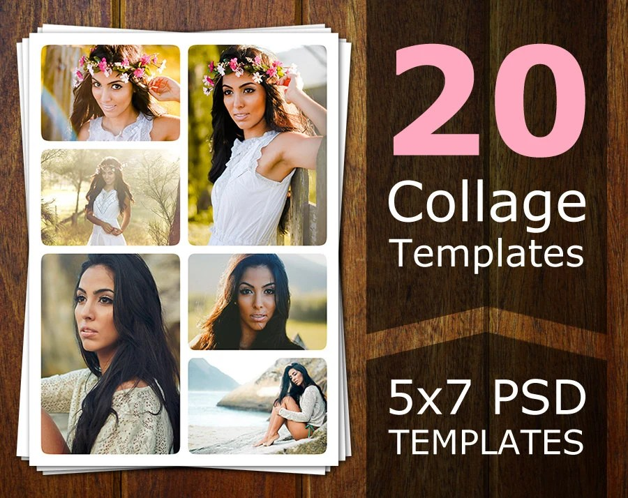 Photoshop Collage Templates Photo Collage Templates Etsy - postcard collage template
