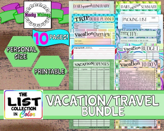 Vacation Travel Bundle Planner Inserts 10 Pages Fun Colors Etsy