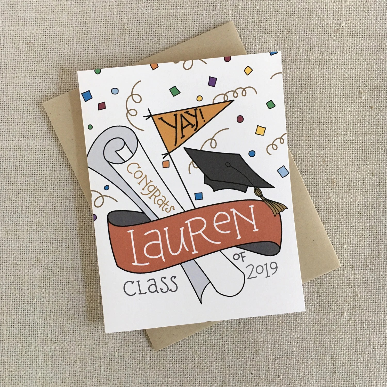 Custom Graduation Congrats Card / Class of 2019 / Custom Name Etsy