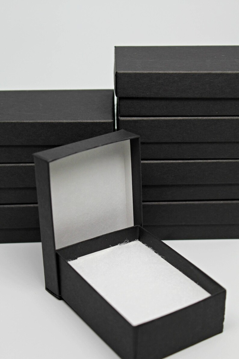 Black Gift Boxes Kraft Jewelry Boxes Black Gift Boxes Storage Box With Lid Recycled Content Boxes Includes Cotton Fill Made In Usa Set Of 8