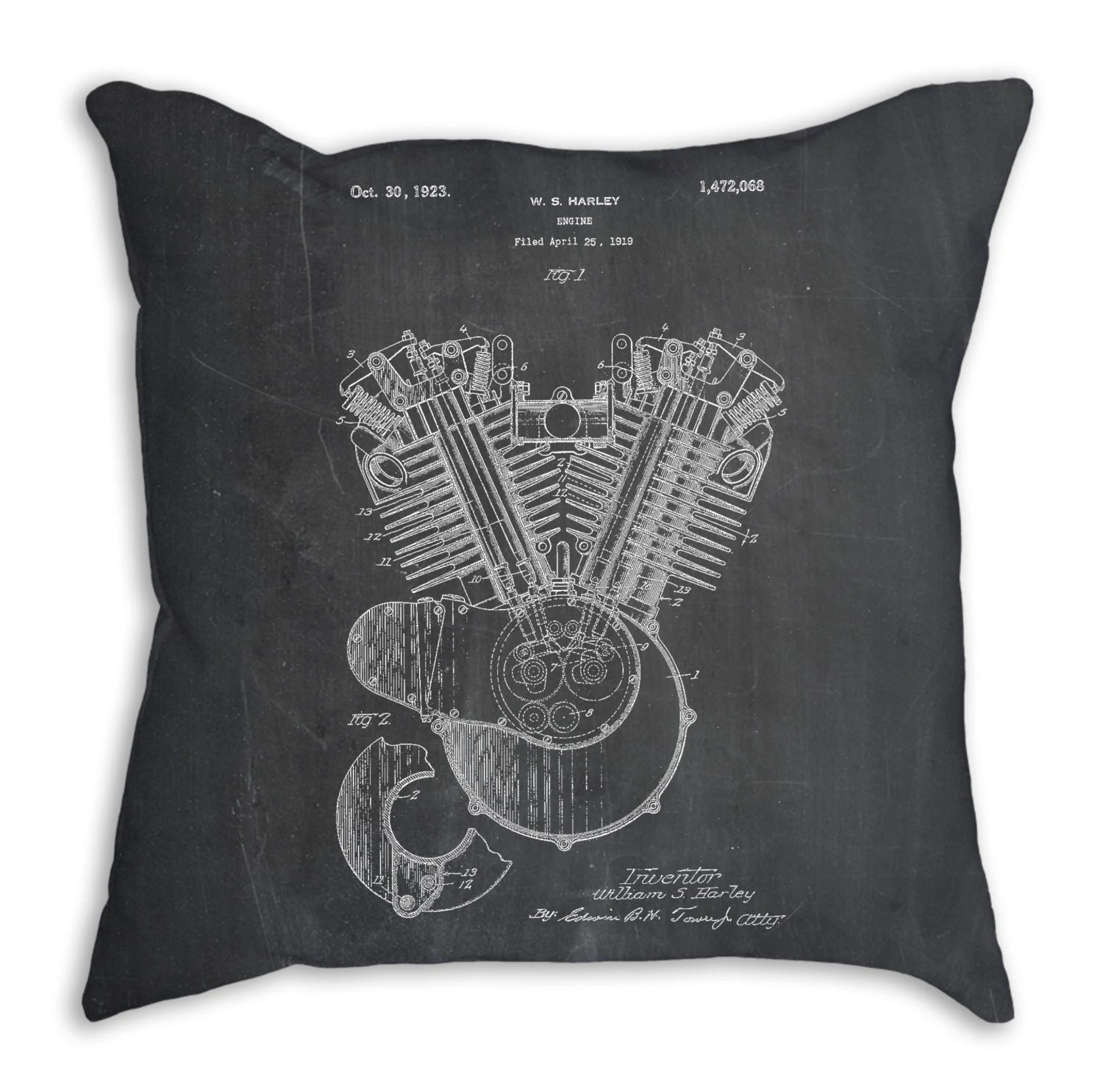 Bettwäsche Harley Davidson Harley Davidson Engine 1919 Patent Pillow Harley Davidson Bedding Motorcycle Blueprint Harley Motorcycle Motorcycle Bedding Pp0024