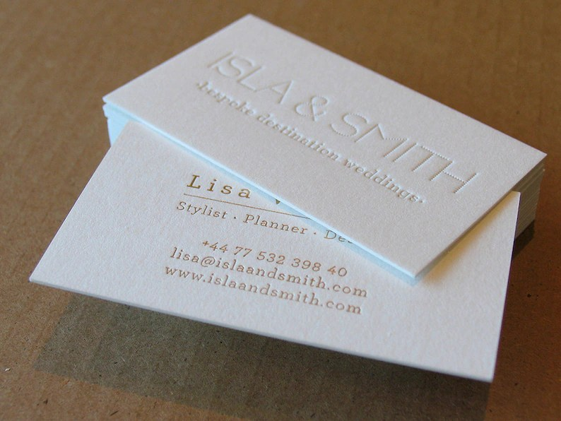 Letterpress Business Cards 1 Letterpress Gold Foil Etsy