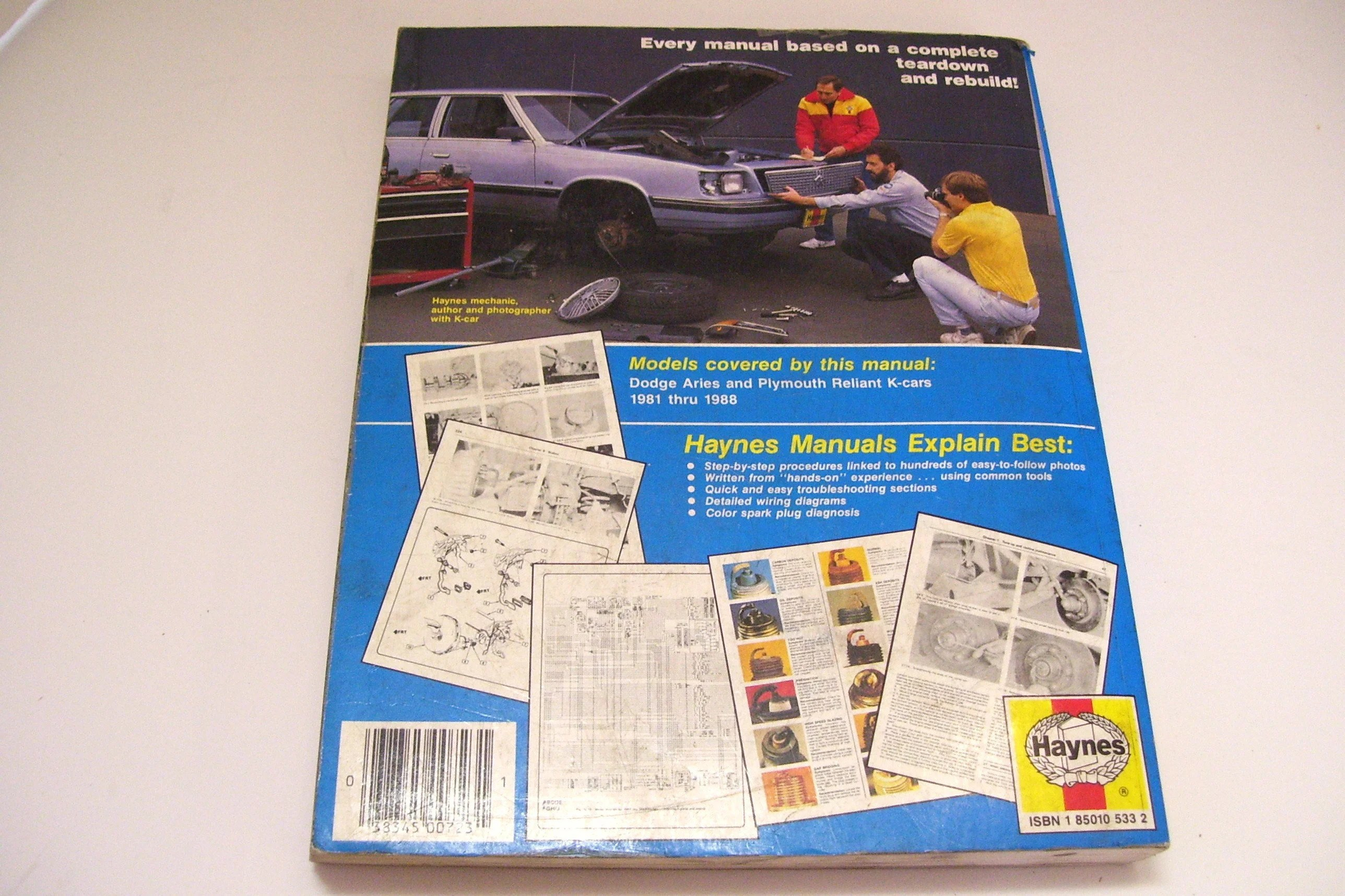 Dodge Aries and Plymouth Reliant 1981 1988 Haynes Owners Etsy