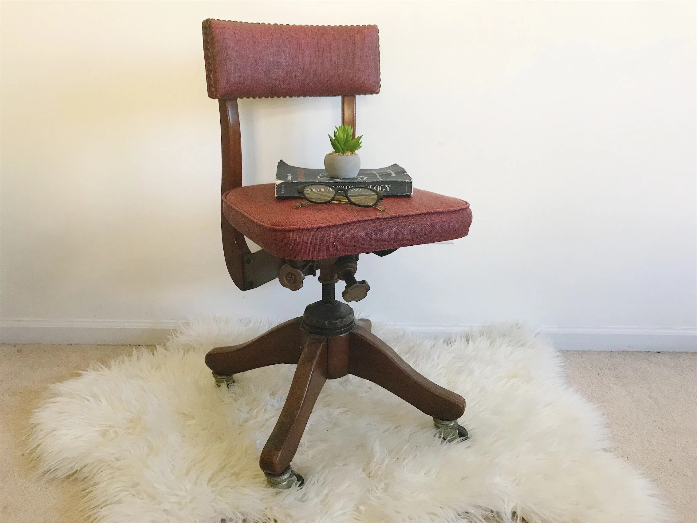 Container Haus Ilz Antique Office Chair Wood Vinyl Mid Century Industrial Drafting Stool Side Table Plant Stand Night Table Rustic Red