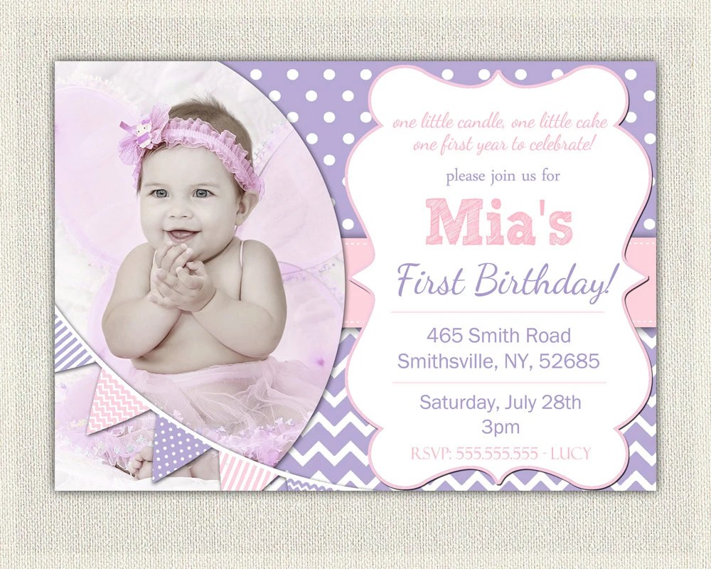 First Birthday Invitation Purple and Pink Girls Purple birthday