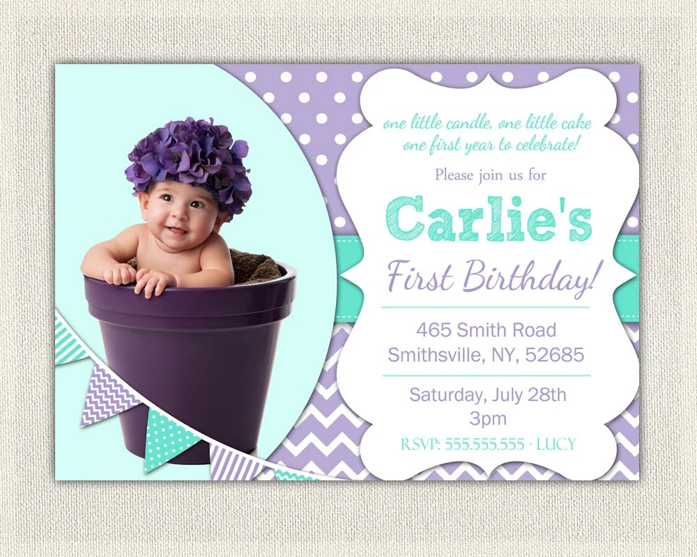 1st Birthday invitation Purple and Aqua Girls / Purple Etsy
