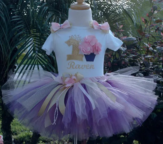 Pink Gold Purple Cupcake 1st Birthday Baby Girl Outfitone Etsy