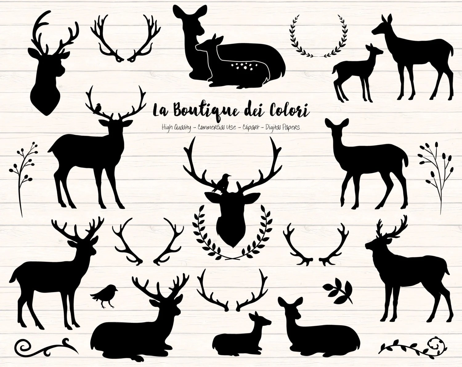 Black Deer Silhouette Clipart Cute Graphics PNG Christmas Etsy