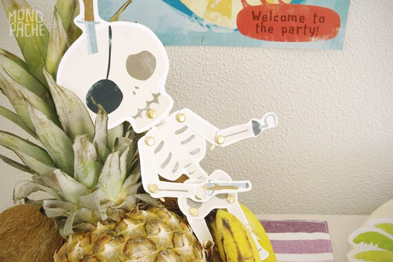Skeleton paper doll - articulated paper doll - Pirate party
