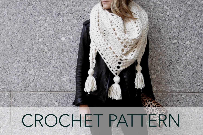 Crochet Pattern Triangle Scarf Tassels Boho Oversized
