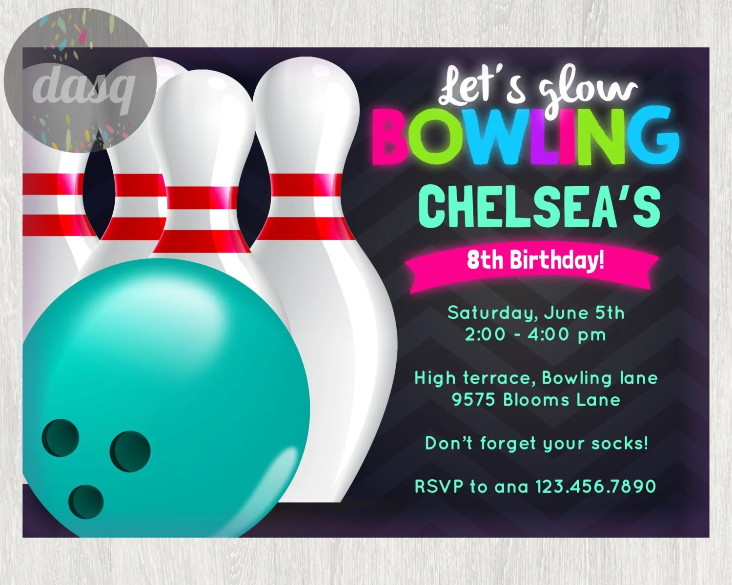 INSTANT DOWNLOAD Bowling Invitation-Printable Bowling Etsy