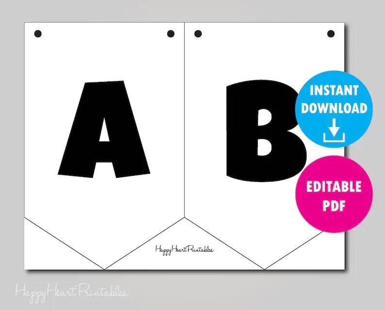 Editable Pennant Banner Template Printable Banner Template Etsy
