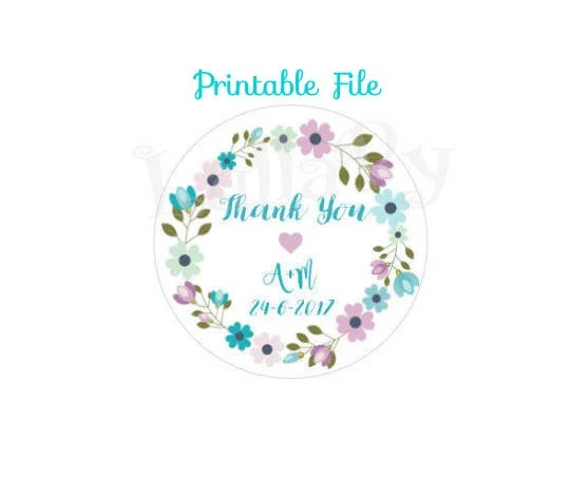 WEDDING Thank You TAGS - Customized printable file - \