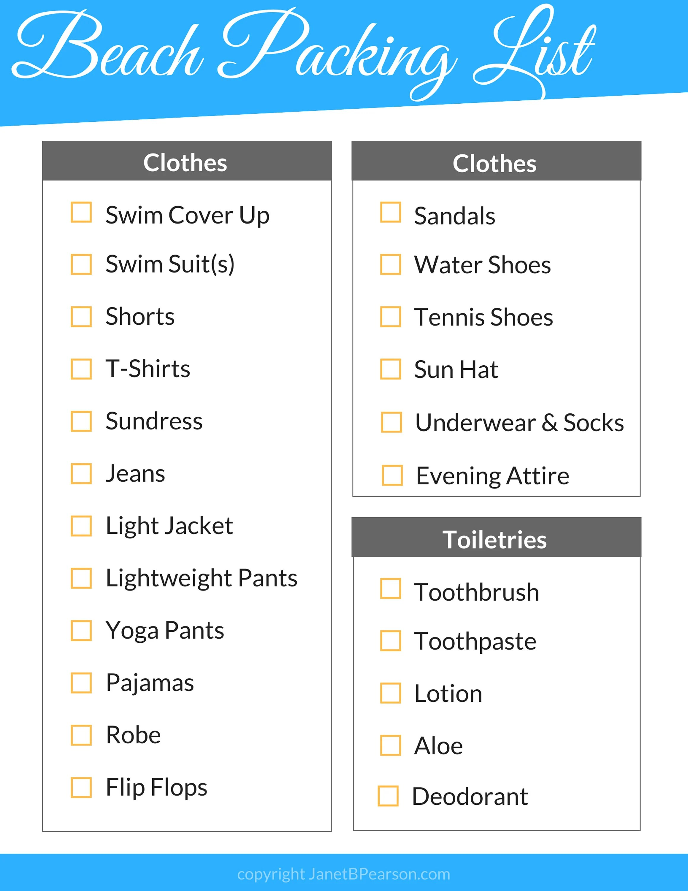 Ultimate Beach Vacation Packing List Includes 5 PDF pages of Etsy