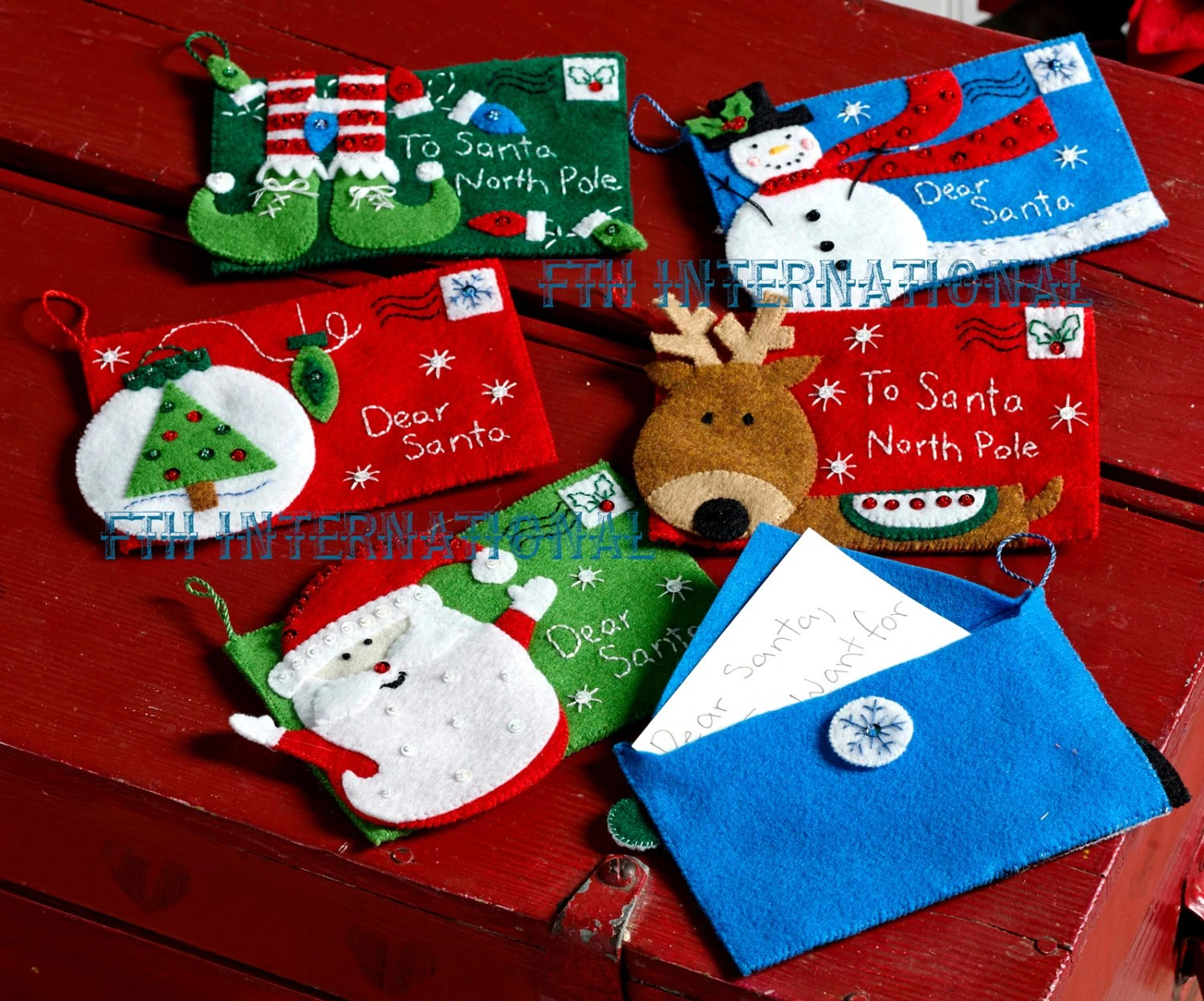 Bucilla Letters to Santa Envelopes ~ 6 Pce Felt Christmas Ornament - Santa Envelopes
