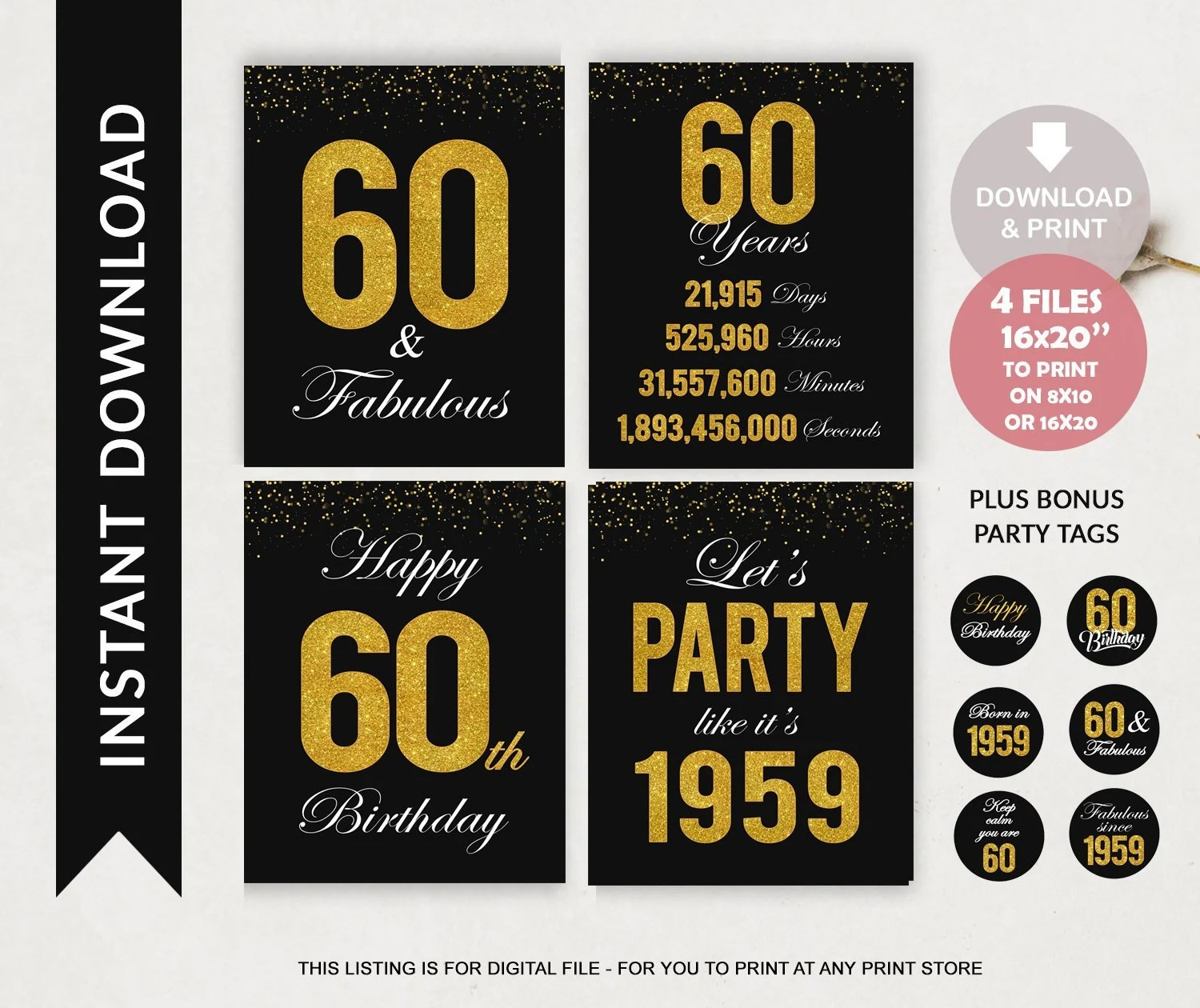 Printable 60th Birthday Welcome Set Signs Black Gold Etsy