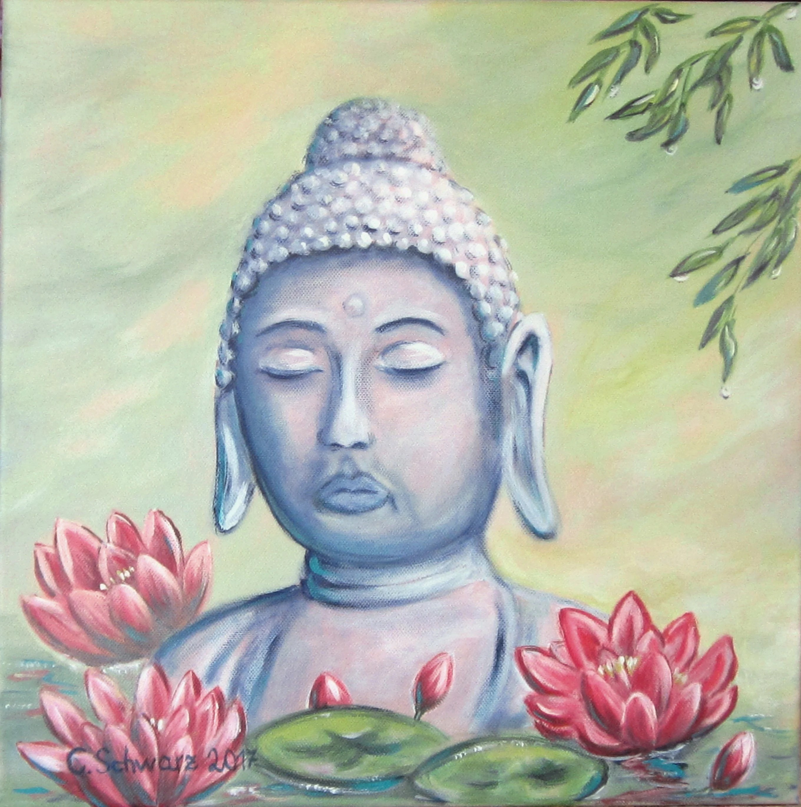 Leinwandbild Buddha Acrylic Painting Relaxation Buddha Art Picture Lily Painted Canvas Picture Original 40cmx40cm