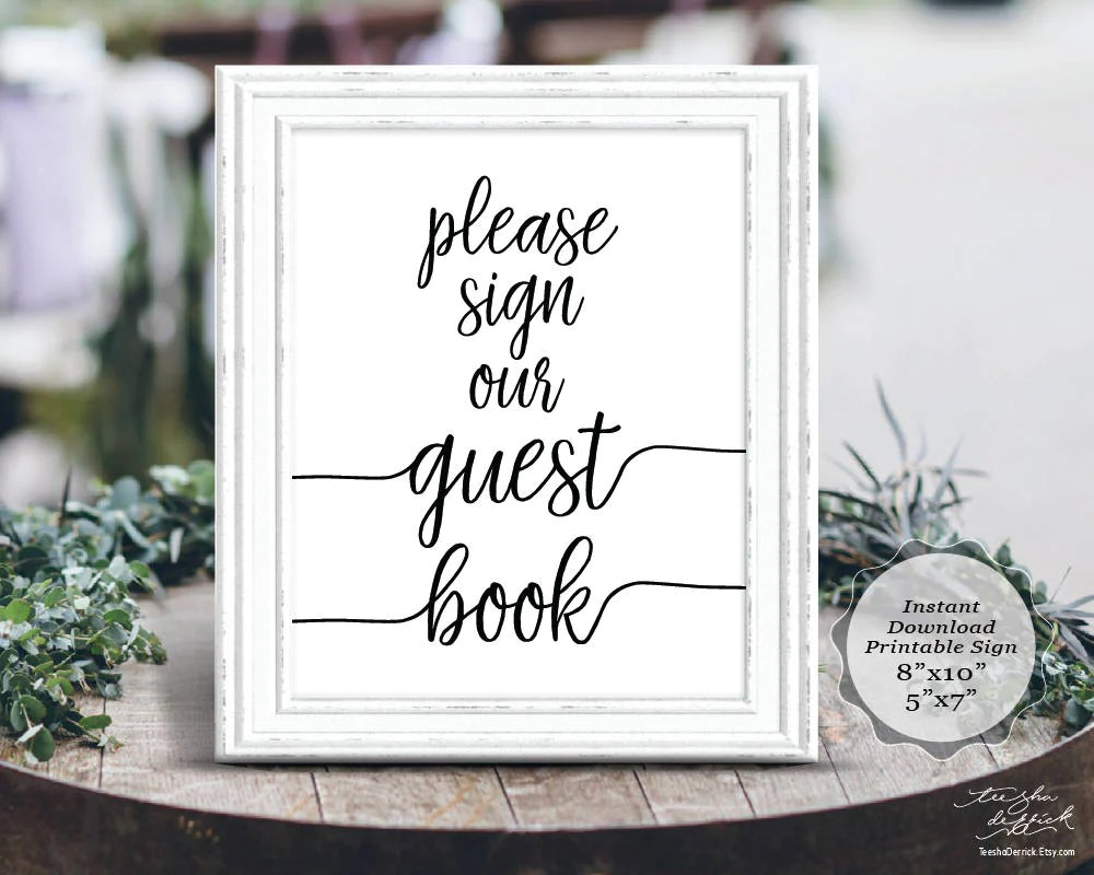 Calligraphy Fonts Books Pdf Guest Book Sign In Rustic Calligraphy Design Theme Wedding Printable Sign Pdf Instant Download 8x10 5x7 Ted410s 3 By Teeshaderrick