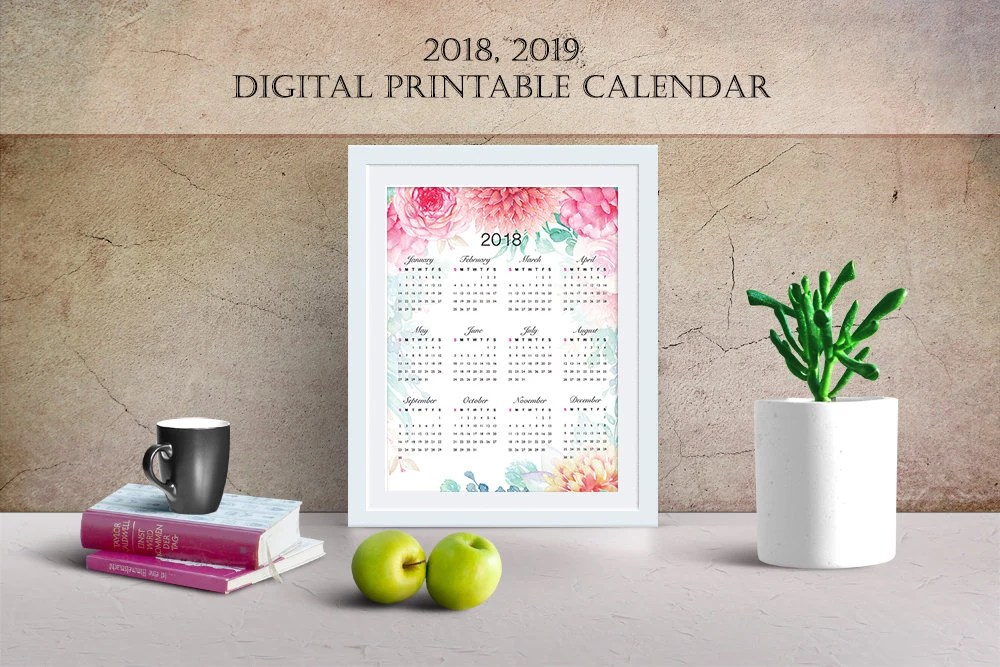 Printable 2019, 2020 watercolor Floral wall calendar,Watercolor