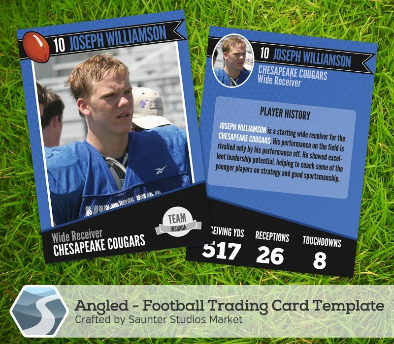 Angled Football Trading Card 25 x 35 Etsy