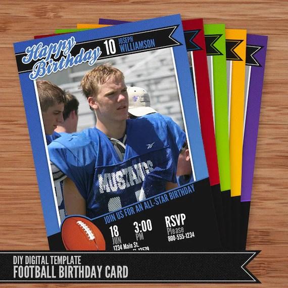 Football Card Birthday Invitation 5x7 Photoshop Template for Etsy