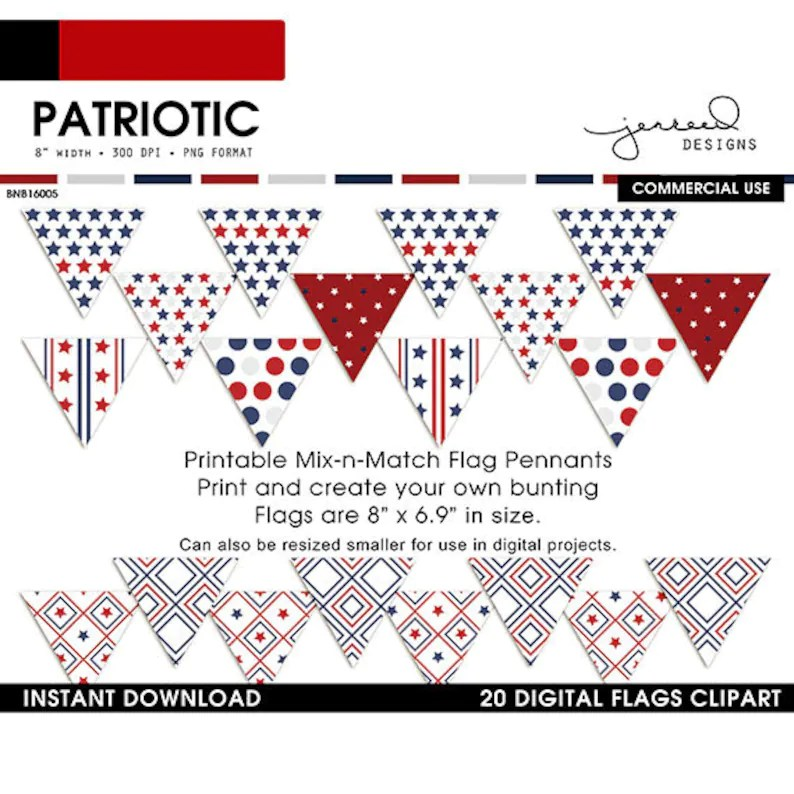 July 4th Banner Flags DIY Patriotic Border Fourth of Etsy