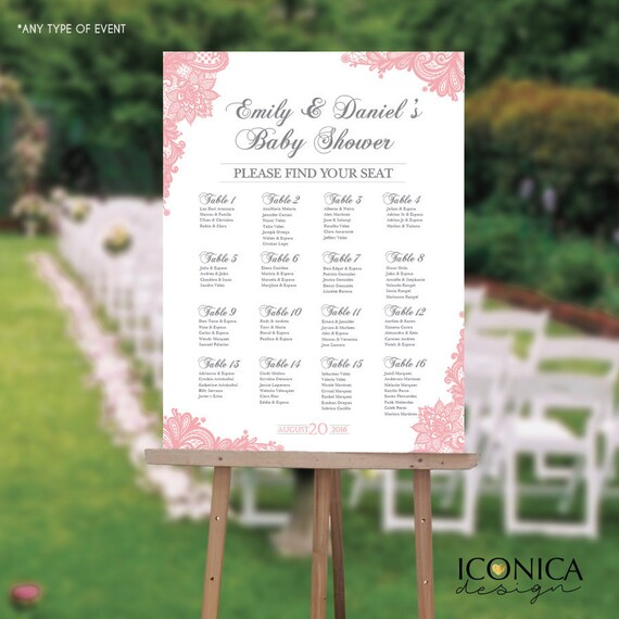 Seating Chart Board Elegant Baby Shower Seating Chart Guest List