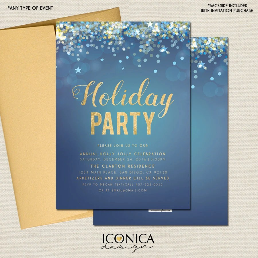 Christmas Cards, Holiday Party Invitations, Elegant Blue and Gold