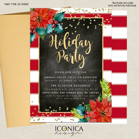 Christmas Cards - Holiday Party Invitations - Red, white, Black and