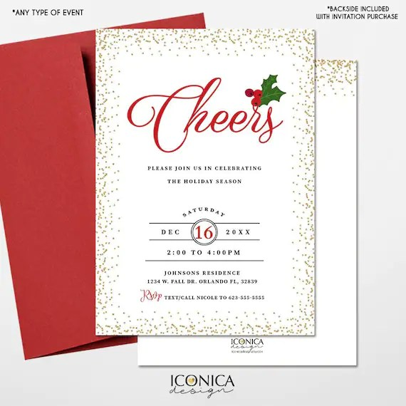 Christmas Cards, Holiday Party Invitations, Cheers Holiday Invites