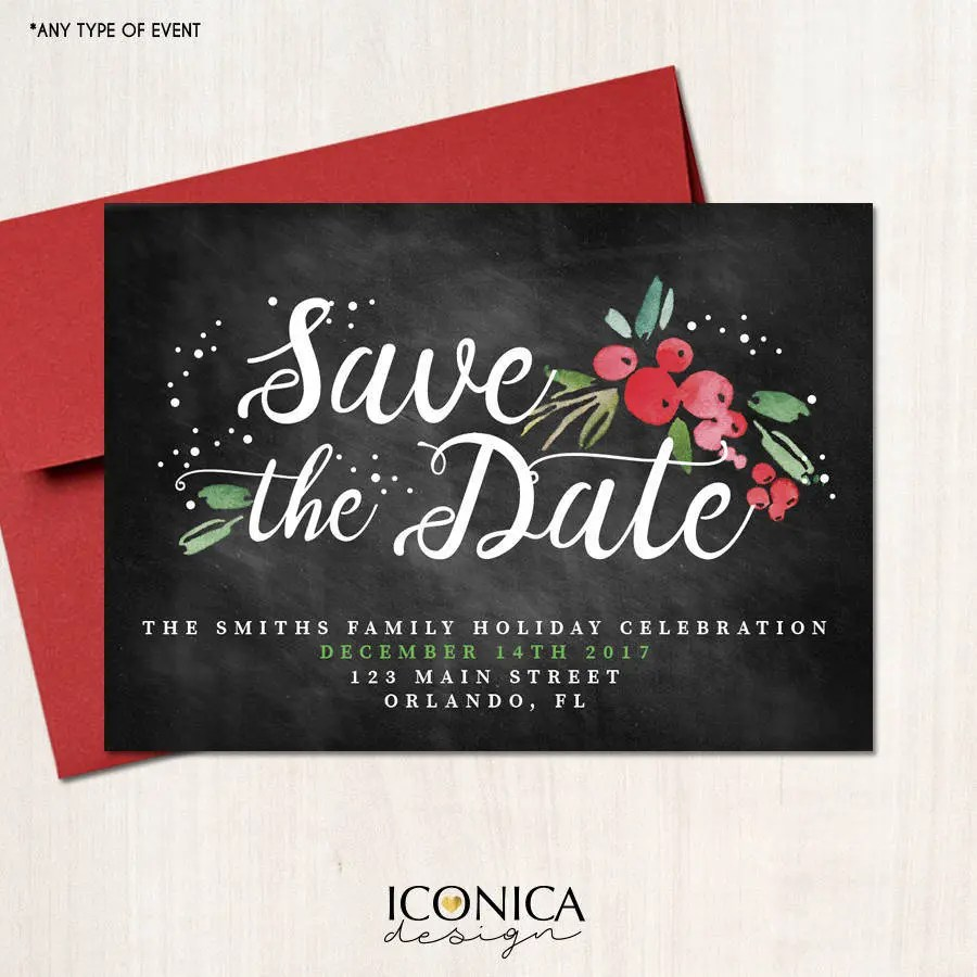 Save the Date Christmas Cards Holiday Save the date cards Etsy