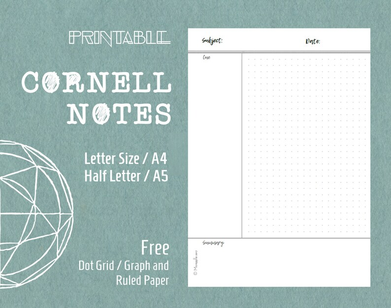 Printable Cornell Notes Template Planner Inserts Letter Size Etsy