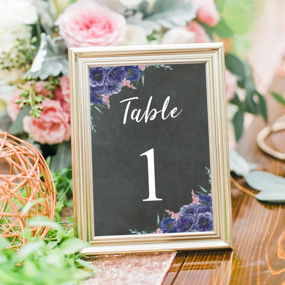 Wedding Table Numbers, Table Number Cards, Printable Wedding Decor