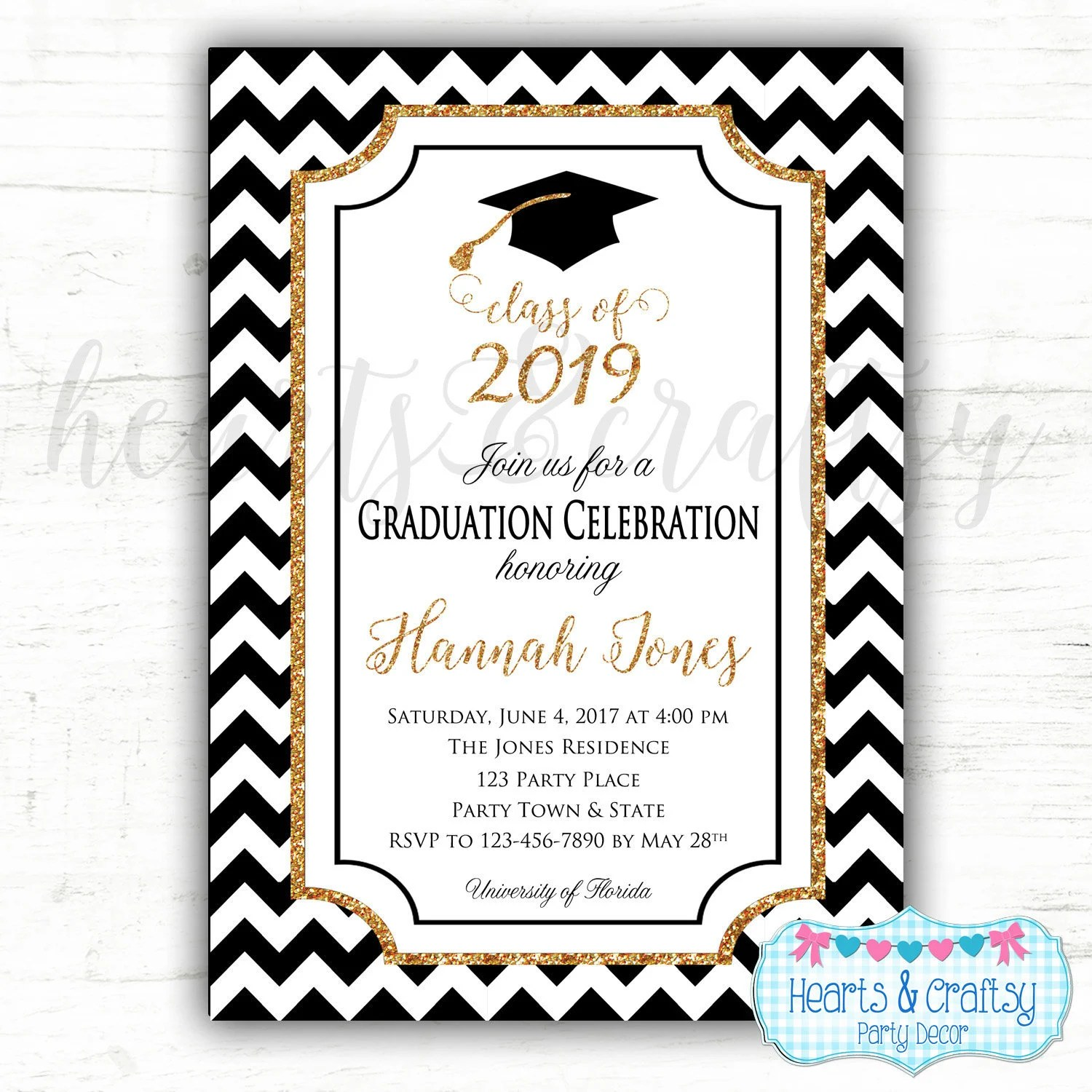 Graduation Party Invitation - College Graduation Invitation - High