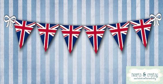 UK British Flag Union Jack Party Banner Bunting - Printable - FILE