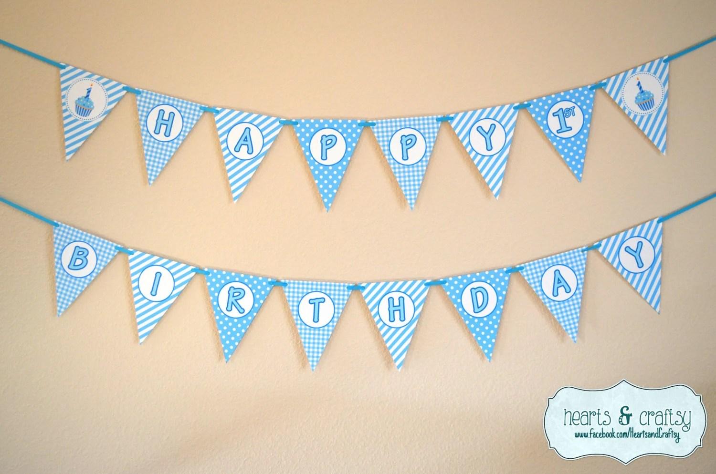 Boy First Birthday Banner / Boy 1st Birthday / Blue Cupcake First