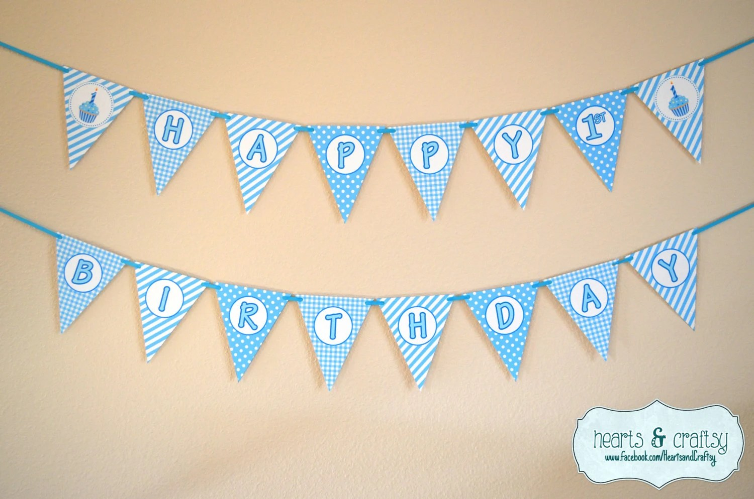 Boy First Birthday Banner / Boy 1st Birthday / Blue Cupcake Etsy