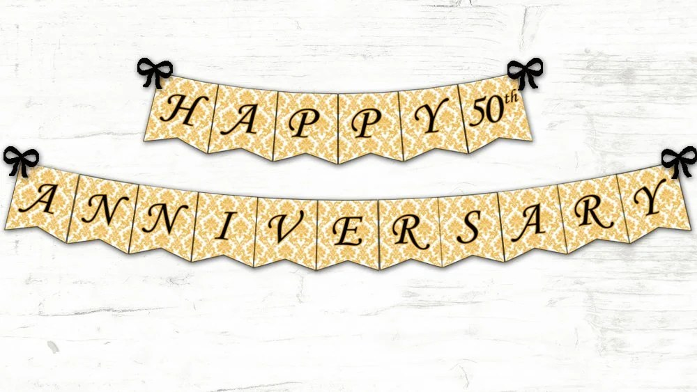 Happy Anniversary Banner / Anniversary Party Decoration / Gold