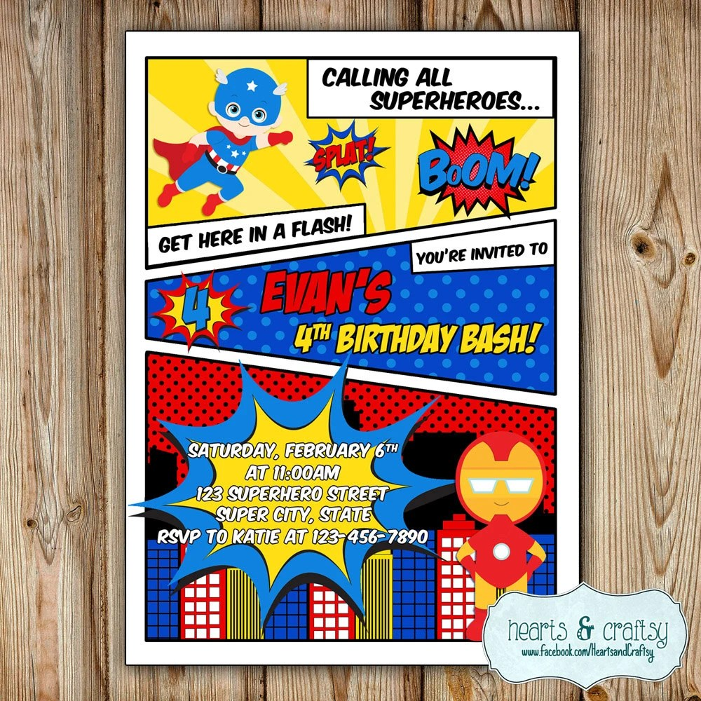Superhero Party Invitation Super Hero Birthday Etsy