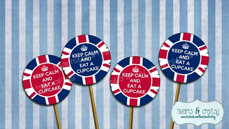 Keep Calm Cupcake Toppers UK Party British Flag Union Jack Printable
