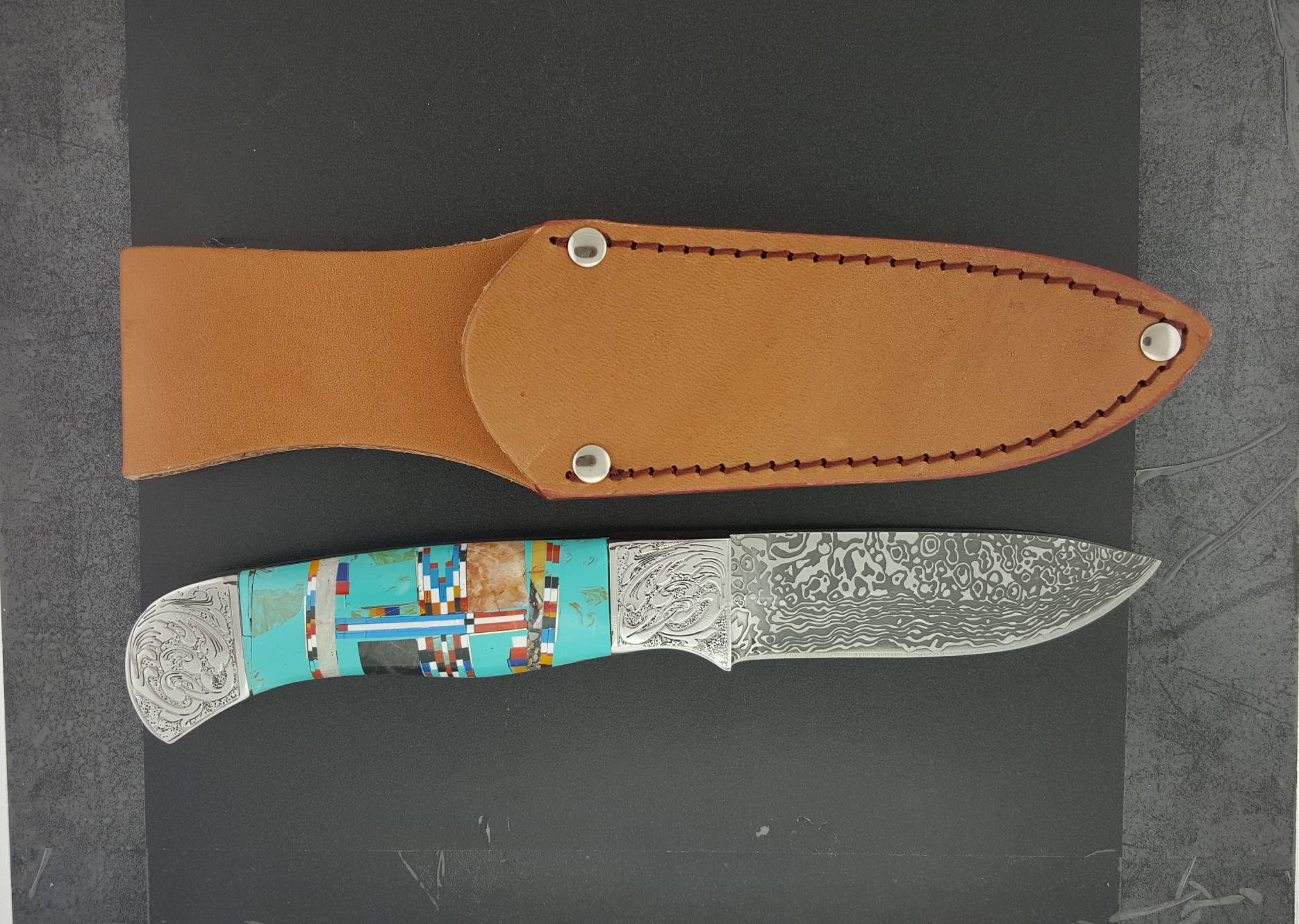 Stainless Steel Knife Laser Cut Blade Stainless Steel Knife Turquoise Inlay