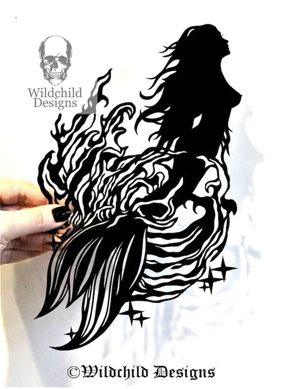 Mermaid Bursting from the Ocean Waves Paper Cutting Template Etsy