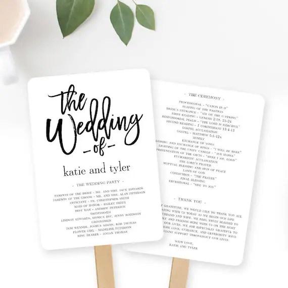 Wedding Program Fan or Flat Wedding Program Templates Etsy