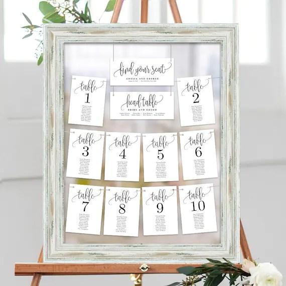 Wedding Seating Chart Template Set Printable Table Seating Etsy