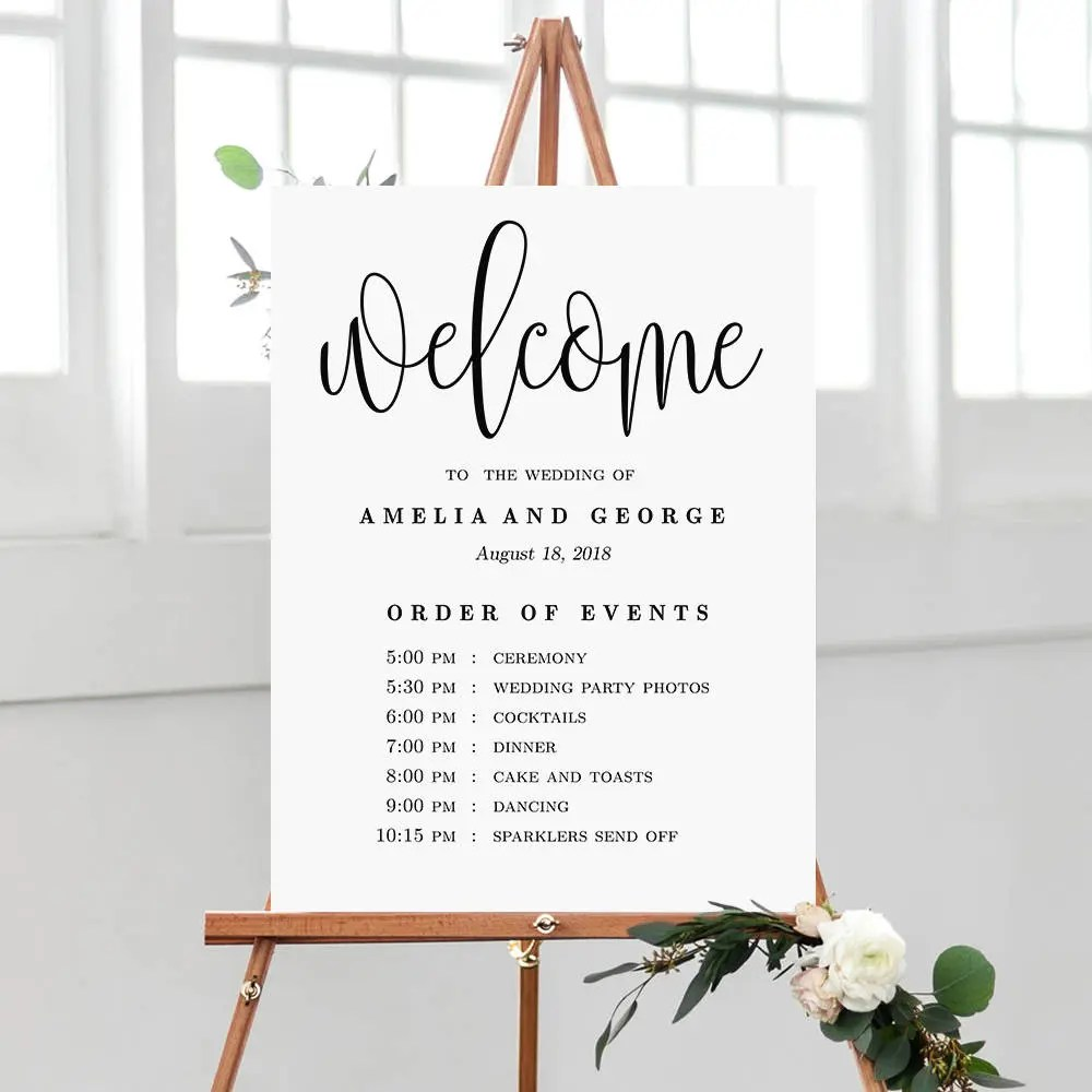 Wedding Welcome Order of Events Sign Wedding Welcome Sign Etsy