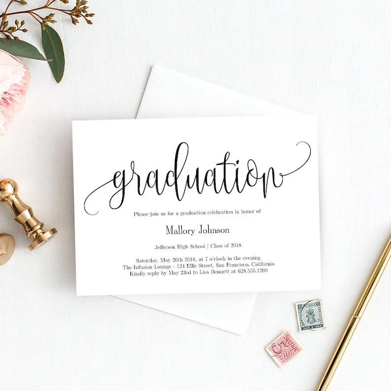 Graduation Party Invitation Template Printable Graduation Etsy