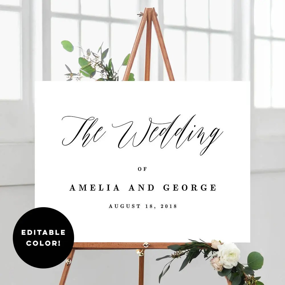 2 Sizes Wedding Welcome Sign Poster Templates With Editable Etsy - editable poster templates