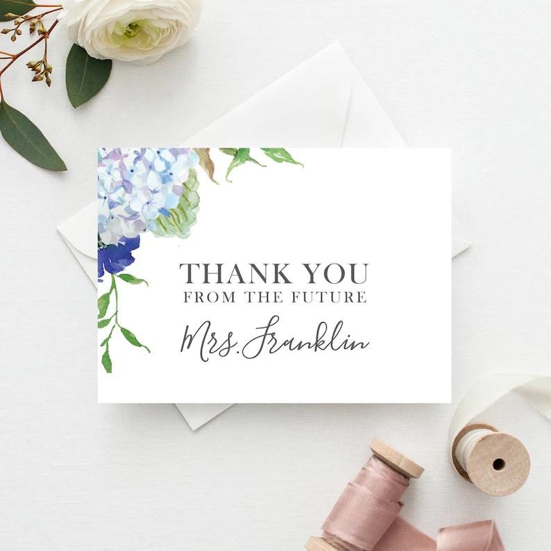 Bridal Shower Thank You Cards Blue Hydrangea Folded Thank Etsy