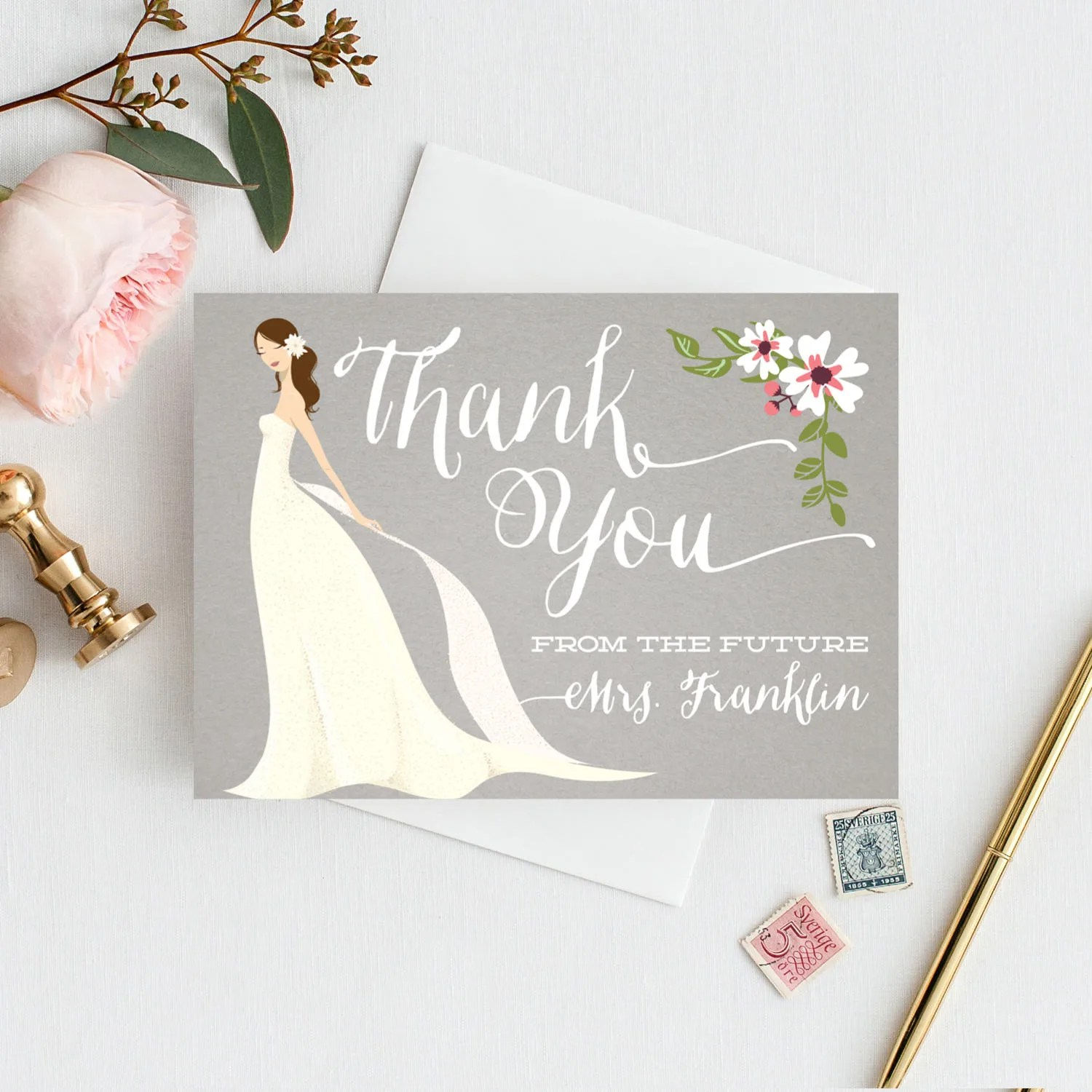 Bridal Shower Thank You Cards Folded Thank You Cards Etsy