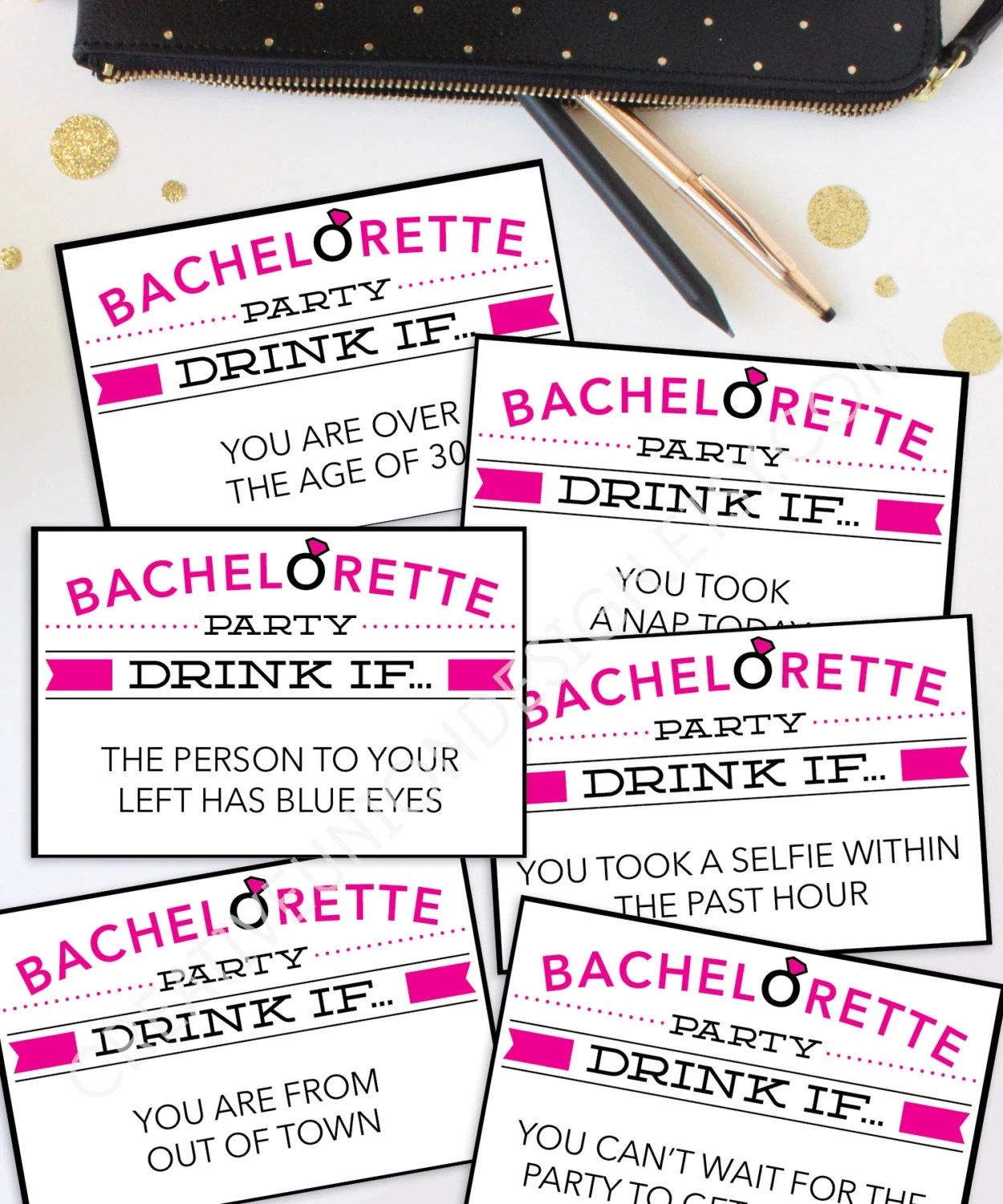 Bachelorette Party Game Drink If Game Printable Etsy
